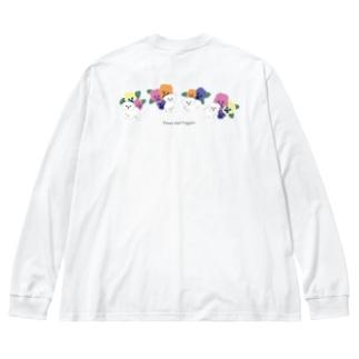 パンジーと子犬たち Big silhouette long sleeve T-shirts