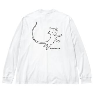 猫のミィ Big silhouette long sleeve T-shirts