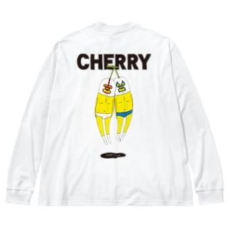 チェリー Big silhouette long sleeve T-shirts