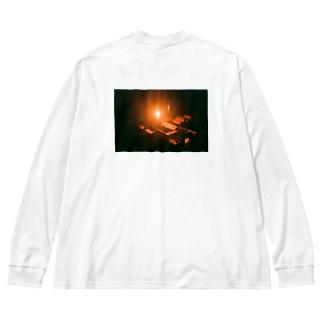 薪ストーブ Big silhouette long sleeve T-shirts