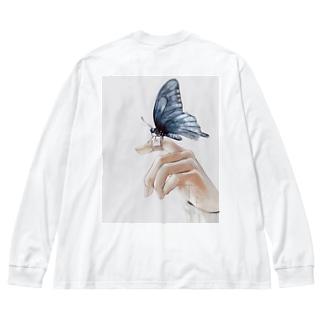 人の不幸は蜜の味 バックプリント Big silhouette long sleeve T-shirts