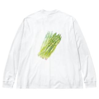 ベジタブルT(アスパラガス) Big silhouette long sleeve T-shirts