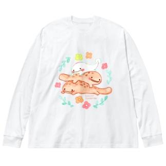 すずきいときちのさらまんだーとオオサンショウウオ Big silhouette long sleeve T-shirts
