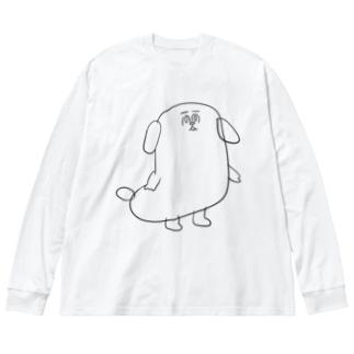 もじゃまる茫然 黒 Big silhouette long sleeve T-shirts