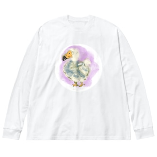 いきものイラスト(ドードー) Big silhouette long sleeve T-shirts