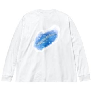いきものイラスト(シロナガスクジラ) Big Long Sleeve T-shirt