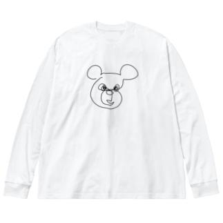 一筆書き クマ🐻 Big silhouette long sleeve T-shirts