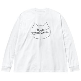 一筆書き ネコ🐱 Big silhouette long sleeve T-shirts