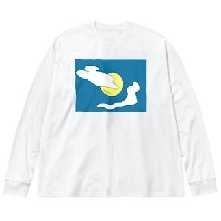 目玉焼きのようなお月様と雲 Big silhouette long sleeve T-shirts