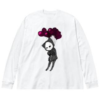 愛、苦しい キズねこ Big silhouette long sleeve T-shirts