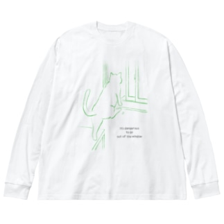 猫と出窓 Big silhouette long sleeve T-shirts