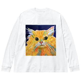 Orange Calcite Cat(オレンジ カルサイト キャット) Big silhouette long sleeve T-shirts