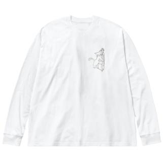 ベース弾くネコ 2 Big silhouette long sleeve T-shirts