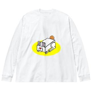 はこうさぎ Big silhouette long sleeve T-shirts