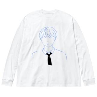 男子高校生 制服マッシュ Big silhouette long sleeve T-shirts