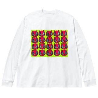 きらきらねこ Big silhouette long sleeve T-shirts