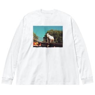 エモいヤギ Big silhouette long sleeve T-shirts