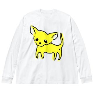 ゆるチワワ(イエロー) Big silhouette long sleeve T-shirts