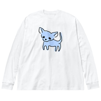 ゆるチワワ(ブルー) Big silhouette long sleeve T-shirts