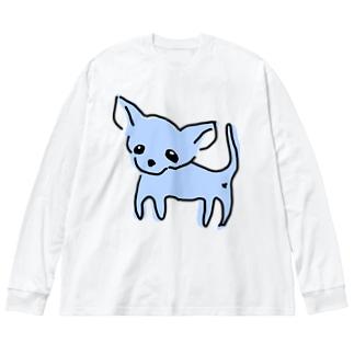 ゆるチワワ(ブルー) Big silhouette long sleeve T-shirts