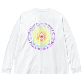 フラワーオブライフ虹 Big silhouette long sleeve T-shirts
