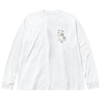 フィドル弾く猫 1 Big silhouette long sleeve T-shirts