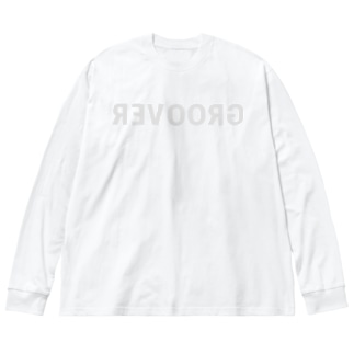 GROOVER Mirror Typo / Right Gray Big silhouette long sleeve T-shirts