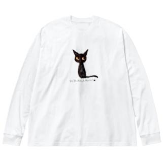 黒猫ムーン New Big  Big silhouette long sleeve T-shirts