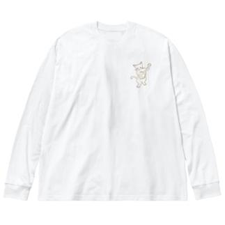 バンジョー弾く猫 1 Big silhouette long sleeve T-shirts