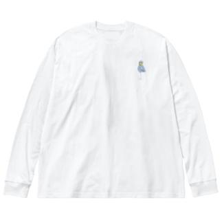 ハシビロコウ Big silhouette long sleeve T-shirts