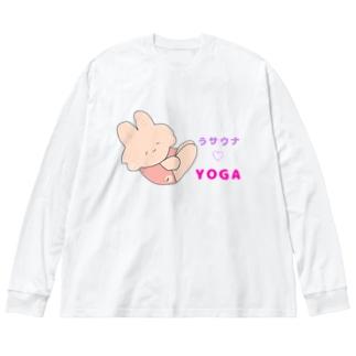 うサウナ♡yoga🧘♀️ Big silhouette long sleeve T-shirts
