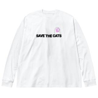 Save the cats 3 Big silhouette long sleeve T-shirts