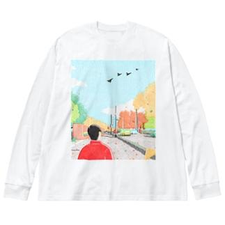 北北西に飛んでいった Big silhouette long sleeve T-shirts
