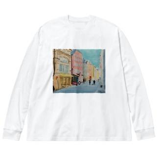 ストックホルムの路地裏 Big silhouette long sleeve T-shirts