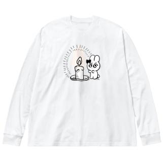 ろうそくあたたけえど Big silhouette long sleeve T-shirts