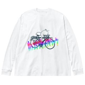 かっこいいケッタマシーンモチムシ Big silhouette long sleeve T-shirts