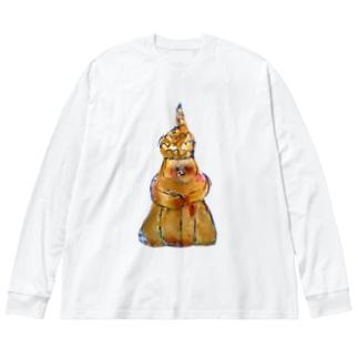 どんどこどぐう2 Big silhouette long sleeve T-shirts