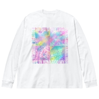 Botanical life in Hokkaido(Marble_C) Big silhouette long sleeve T-shirts
