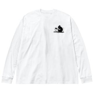 森の兎と里の猫絵柄小さ目バージョン Big silhouette long sleeve T-shirts
