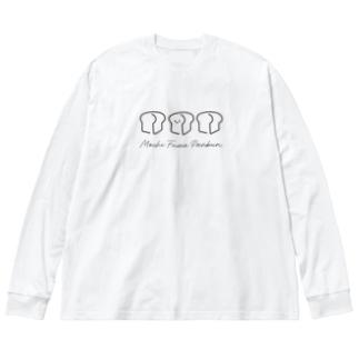 なな子のやさしいパンくんロゴ Big silhouette long sleeve T-shirts