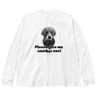 お代わりください♡わんこ Big silhouette long sleeve T-shirts