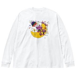 ゆるかわ宇宙人5 Big silhouette long sleeve T-shirts
