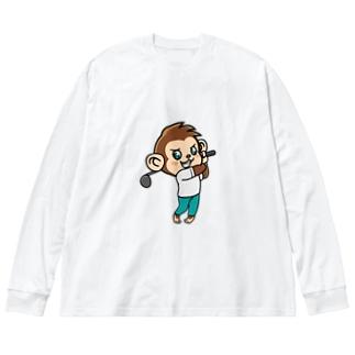 Monkey golfer のもんごる君 Big Silhouette Long Sleeve T-Shirt
