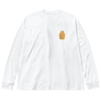 Capybara「Pokke」赤チューリップ2 Big silhouette long sleeve T-shirts