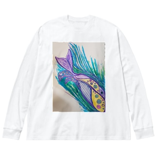 クジラ🐳くじら Big silhouette long sleeve T-shirts
