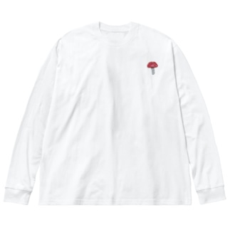 ワンポイント 毒きのこ Big silhouette long sleeve T-shirts