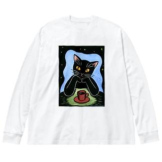 Black coffee Big silhouette long sleeve T-shirts
