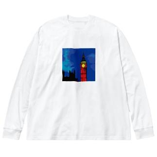 ロンドン ビッグベン エリザベスタワー Big silhouette long sleeve T-shirts