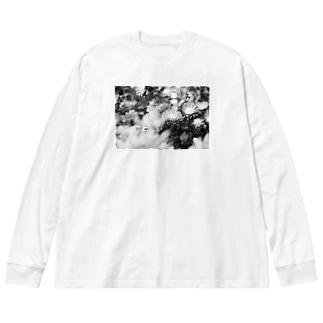 モノクロフラワー(キク) Big silhouette long sleeve T-shirts