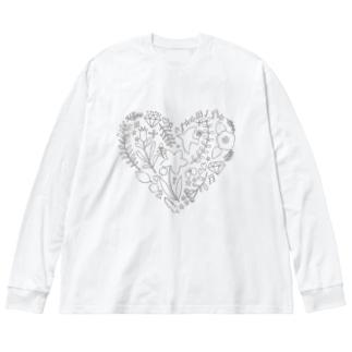 ハート Big silhouette long sleeve T-shirts